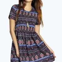 Caia Multi Print Woven Smock Dress