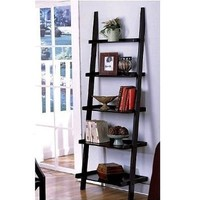 "1 X Unique 72"" High LEANING LADDER STYLE MAGAZINE / BOOK SHELF on Black Finish"