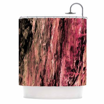 "Ebi Emporium ""RAINBOW BARK 4"" Magenta Coral Abstract Nature Painting Mixed Media Shower Curtain"