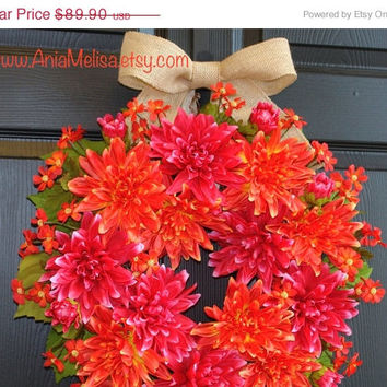 WREATHS ON SALE fall wreaths summer wreaths for front door wreaths home decorations gift ideas outdoor wreaths pink orange dahlias