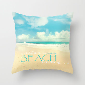"Beach pillow,18x18 or 22x22 velveteen cover ""Beach Time"" typography, quote,decorator pillow,turquoise,aqua home decor,Hawaii"