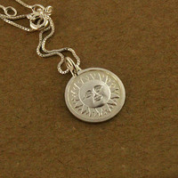 Sterling Silver Sun Face necklace charm tribal by Silversmith925