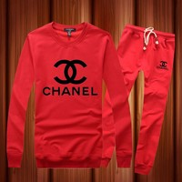 Chanel  Casual Long Sleeve Shirt Top Tee Pants Trousers Set Two-Piece Sportswear