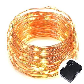 100 Micro LEDs string Light Battery Powered on 33ft Long Ultra Thin String Copper Wire, Decor Rope Flexible Light with Timer and Battery Box Perfect for Weddings, Tree, Party, Bedroom, Xmas