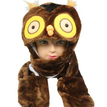 Brown Owl Animal Winter Hat with Mittens - CASE OF 50
