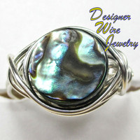 DWJ0174 Fiery Ocean Round Abalone Silver Wire Wrapped Ring All Sizes