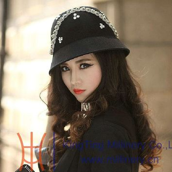 Free Shipping New and Fashion Women Hats Wool Felt Hats Dome Shape Stone And Bead Casing Decoration Women Fedoras 2 Colors