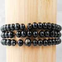 Black 108-Bead Prayer Bracelet