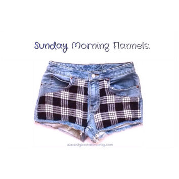 Sunday Morning Flannels Jean shorts. Fabric Panels in shorts. Made in the USA. Black and white plaid. Hipster grunge shorts. Women, teens.