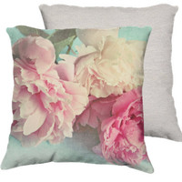 "Shabby chic home decor-""like yesterday"" 3 peonies 18x18 pillow-cottage decor"