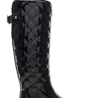 Hunter Refined Gloss Quilt Tall Boot in Black