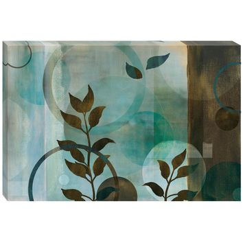 Blue Leaves and Rings Canvas Wall Art (1083) - Illuminada