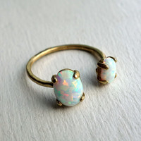 Bronze Dual Stone Ring- Opal and Opal