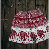 Red Unisex Men & Women Summer Shorts Elephant Print Boho Beach Hippie Hipster Clothing Aztec Ethnic Bohemian Ikat Boxers Sleepwear Baggy