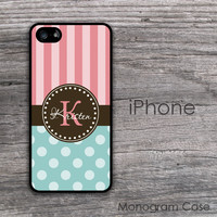 Light teal polka dots coral stripes initials iPhone 6 case