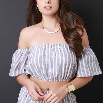 Off The Shoulder Vertical Stripe Crop Top