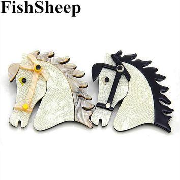 FishSheep 2 Colors Acrylic Horse Animal Brooches Pins For Women Men Unisex Creative Brooch Clothing Accessories Fashion Jewelry