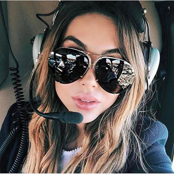 Big brand design Aviator sunglasses 2018 fashion shades mirror Sun Glasses women female eyewear Kim Kardashian sunglasses UV400