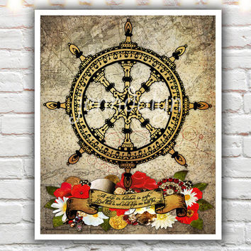 a ship in harbor, nautical decor, mixed media collage art, ships wheel, illustration print, inspirational quote print, nautical art