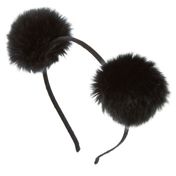 Black Fluffy Pom Pom Headband