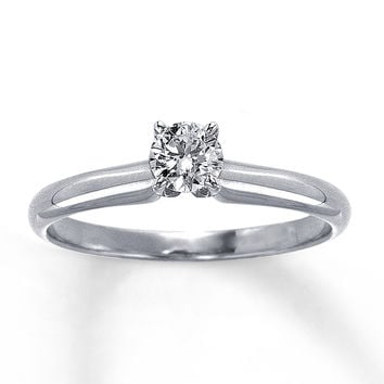 Diamond Solitaire Ring 1/3 carat Round-Cut 14K White Gold