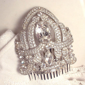 1920s Art Deco Vintage Rhinestone Bridal Head Piece, Flapper Hair Comb, Pave Paste Crystal Heirloom Fur Clip to OOaK Haircomb GATSBY