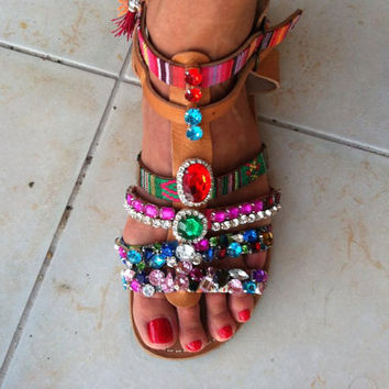 greek leather spartan sandals bohemian style with  fancy stones charms and tassels