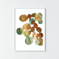 Fine art print, No 33, modern watercolor, abstract, color, gray, green, brown, home decor, painting, gift, pattern, nature, rocks, branches