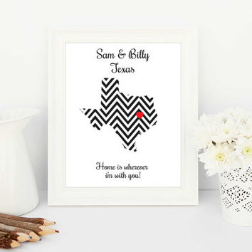 Personalised maps, customised maps, custom maps, personalised print, chevron gift, chevron design, chevron map, map of Texas, black white