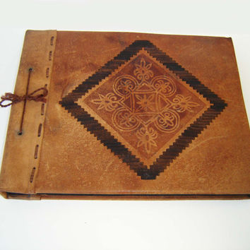 Rare Vintage Luxury Photo Album,  Brown Genuine Leather Album Pictures, Retro Leather Photo Album, Vintage Tooled Leather Photos Cover