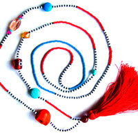 Red Tassel Necklace - Long Seed Bead Necklace - Tribal Necklace - Skull Necklace - Summer Necklace - Tassel Jewelry - Beaded Necklace