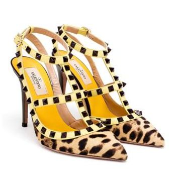 VALENTINO | Leopard Print Rockstud Heels | brownsfashion.com | The Finest Edit of Luxury Fashion | Clothes, Shoes, Bags and Accessories for Men & Women
