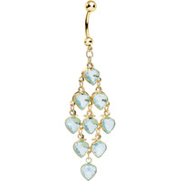 Gold Plated Faux Aqua Stone Hearts Chandelier Belly Ring | Body Candy Body Jewelry