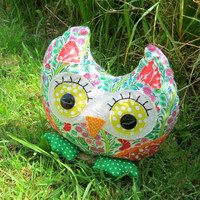 Gretel, a 17.5cm tall owl doorstop.  Owl bookend.  7 inches tall.  Liberty Lawn.