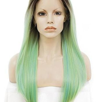 Long Dark To Willow Green Ombre Synthetic Lace Front Wig