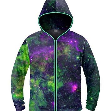 Green Galaxy Light Up Hoodie - Ready to ship!