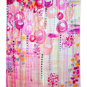 BUBBLEGUM POP Girly Pink Swirls Nursery Fine Art Window Curtains Multiple Size Abstract Art Decor Bedroom Kitchen Lined Unlined Woven Fabric