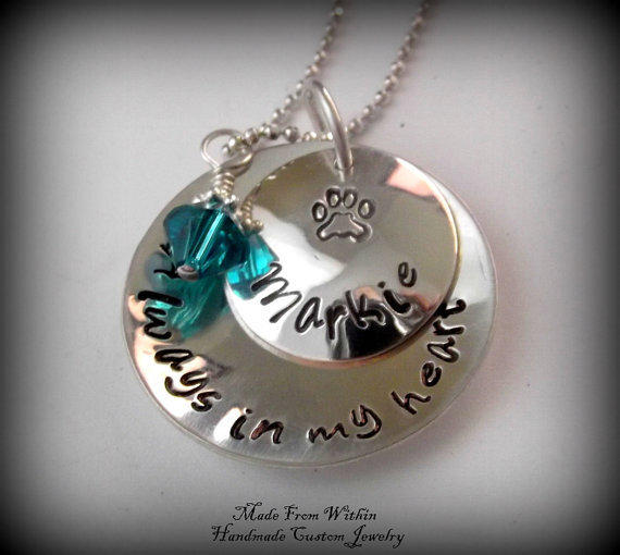Pet Memorial Necklace Dog Cat Memorial From Madefromwithin On