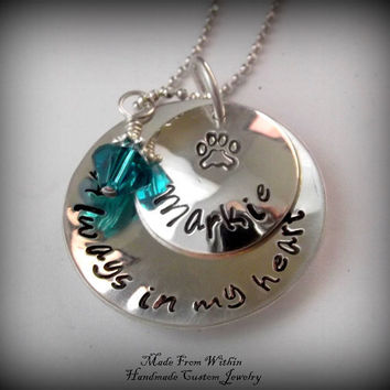 Pet Memorial Necklace- Dog/Cat Memorial Necklace- Pet Remembrance Jewelry