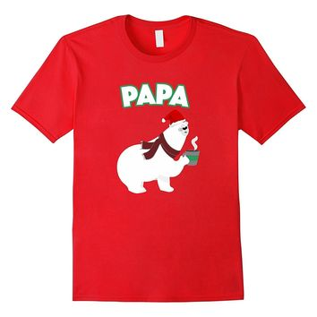 Christmas Papa Bear Coffee Tea Santa Hat Matching Pj Shirt