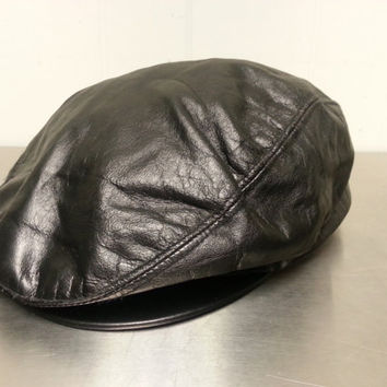 Vintage Union Made Harvard Headwear Leather Newsboy Cabbie Hat Made In USA Size Large Dark Brown Golf Cap Dad Hat Fall Fashion