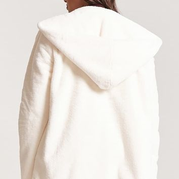 Plus Size Hooded Faux Fur Jacket