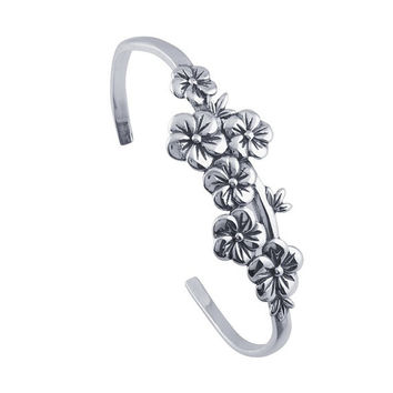 Sterling Silver Floral Cuff Bracelet Custom Made in the USA