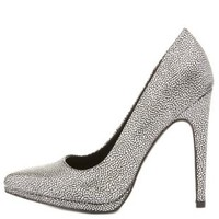Silver Metallic Textured Pointed Toe Pumps by Charlotte Russe