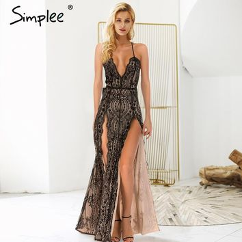 Simplee Sexy backless halter sequin party dresses summer Front side split maxi dress Deep v neck strap long dress women