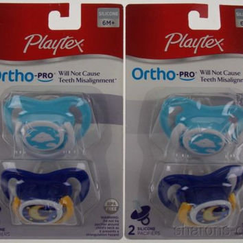 4 Playtex OrthoPro Silicone Pacifiers 6m+ Blue Set 2 Clouds Moon Stars