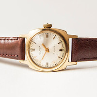 Vintage ladies watch, gold plated, mechanical wristwatch, USSR