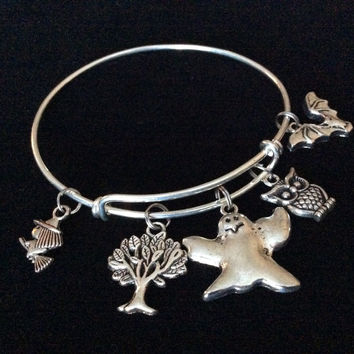 Halloween Themed Charm Bracelet Silver Expandable Bangle Costume Hostess Gift Adjustable Wire Trendy Stackable