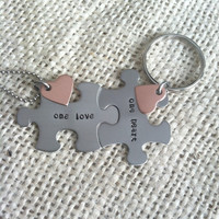 One love, one heart his and her gift necklace keychain stainless steel puzzle pieces copper heart charm add initials to Heart