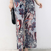 Multi Floral Print Side Zipper Chiffon Palazzo Pants